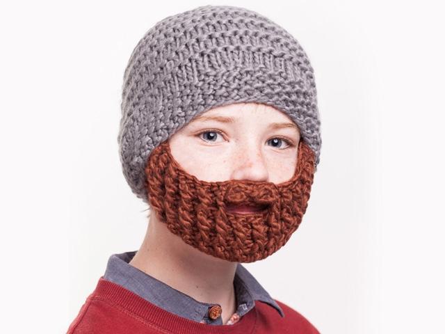 Шапка Beardo детская серая с коричневой