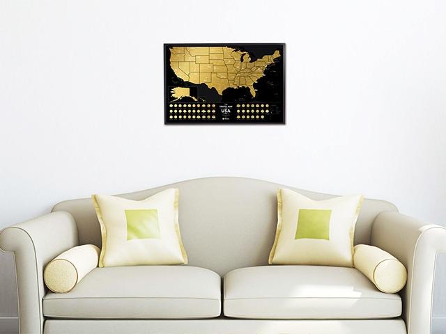Скретч карта США в интерьере