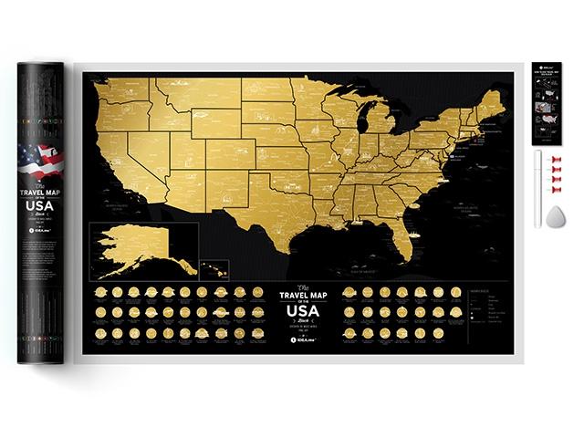 Скретч карта США комплект