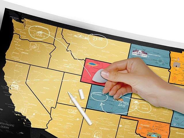 Скретч карта США стираем
