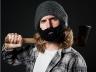 Шапка с бородой темно серая с черной
