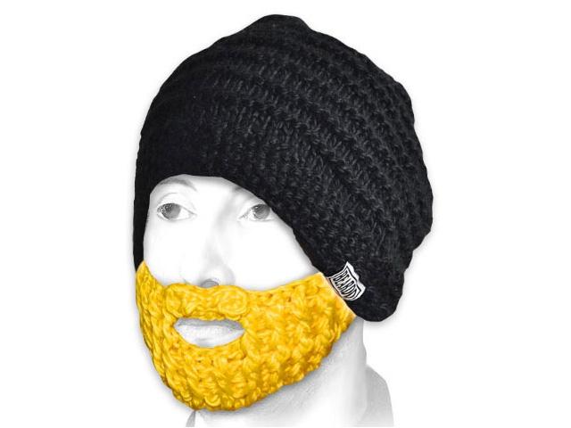 Шапка с бородой черная с желтой бородой