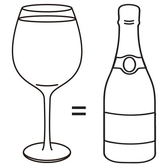 бокал вмещает целую бутылку