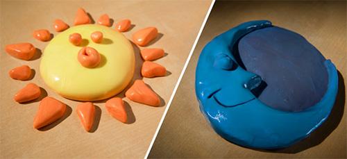 солнце и луна из умного пластилина
