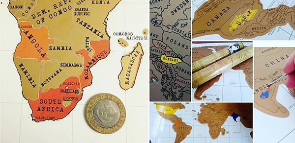 стирательная карта путешественника