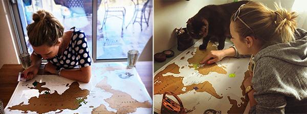 карта путешественника со стирающимся слоем